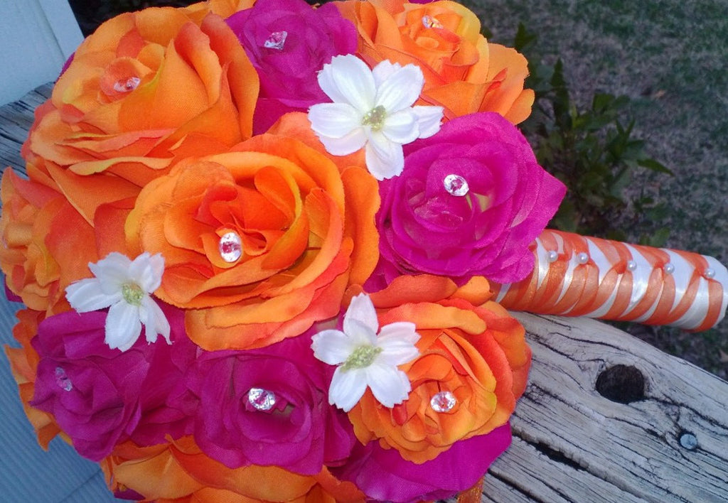 Fuchsia Orange Rose Wedding Bouquet, Fuchsia Bouquet, Fuchsia Orange Bouquet - Silk Flowers By Jean