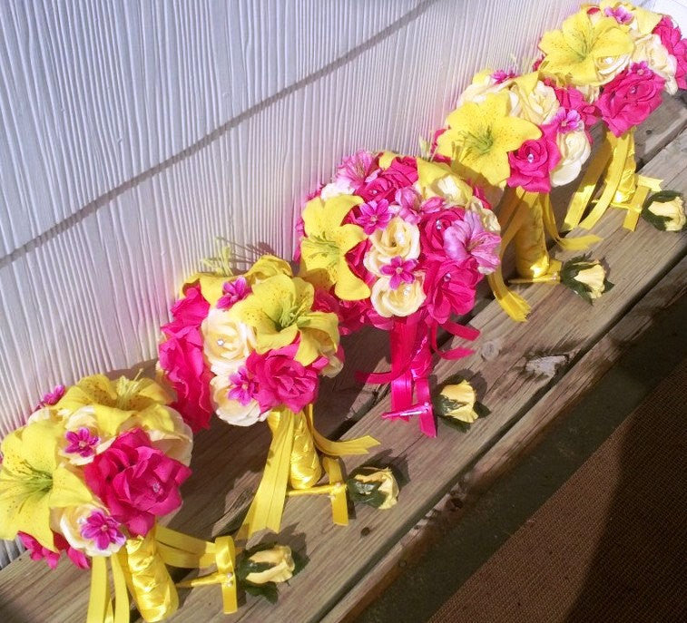 17 Piece Yellow Hot Pink Bouquet Wedding Bouquet Set - Silk Flowers By Jean