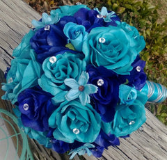 Malibu Blue & Royal Blue Rose Wedding Bouquet, Malibu Blue Bouquet - Silk Flowers By Jean