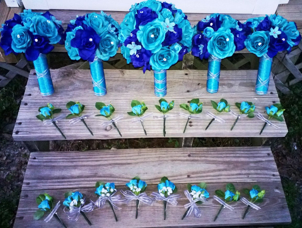 17 Piece Malibu Blue Royal Blue Silk Rose Wedding Bouquet Flower Set