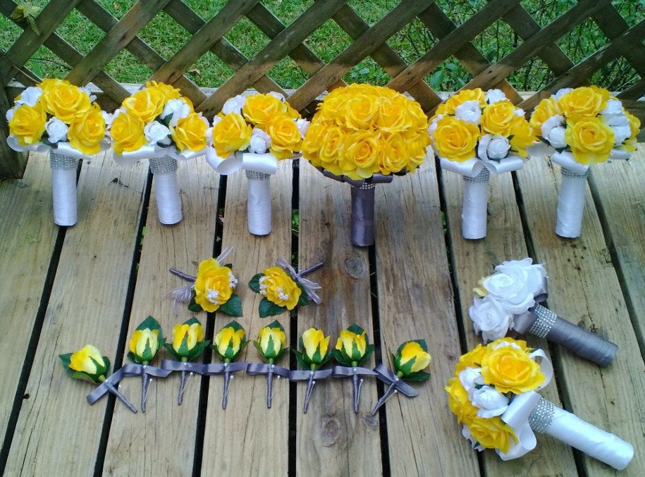 Yellow Rose Bouquet, 17 Piece Wedding Package, Yellow Bouquet, Yellow Gray Bouquet, Yellow White Bouquet, Yellow Wedding, Yellow Rose