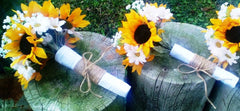 17 Piece Silk Sunflower Rustic Wedding Bouquet Flower Set with Matching Boutonnieres & Corsages