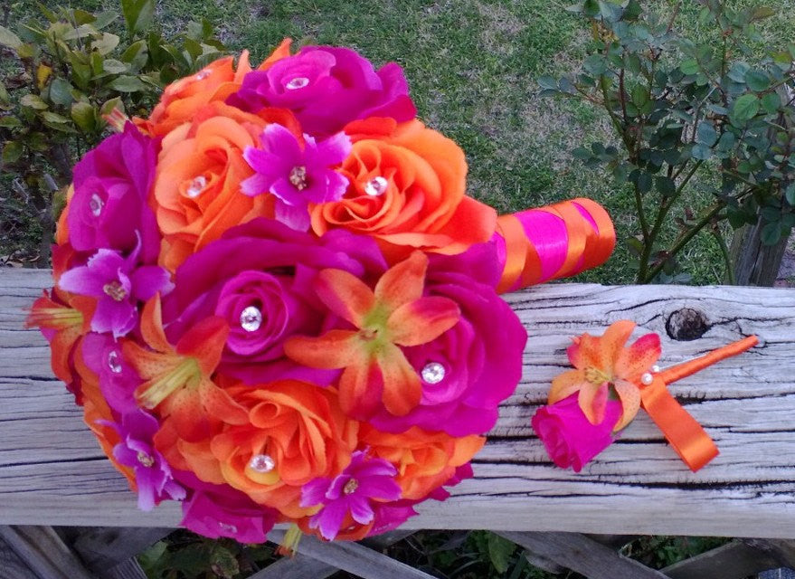 2 Piece Hot Pink Orange Wedding Bouquet Set - Silk Flowers By Jean