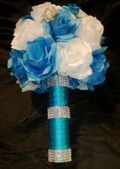 17 Piece Malibu Blue White Silver Wedding Flower Set, Bridal Bouquet, Malibu Blue Bouquet, Turquoise White Bouquet, Blue Wedding Bouquet - Silk Flowers By Jean
