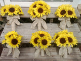 Sunflower Bouquet 10 piece Wedding Flower Set, Bridal Bouquet Sunflower Wedding Bouquet, Rustic Wedding, Rustic Bouquet Sunflower Bridesmaid
