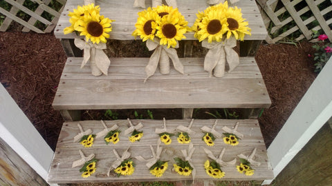 Sunflower Bouquet 10 piece Wedding Flower Set