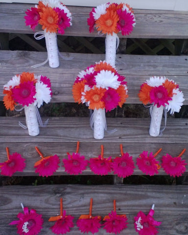 15 Piece Orange Fuschia White Daisy Wedding Bouquet Set
