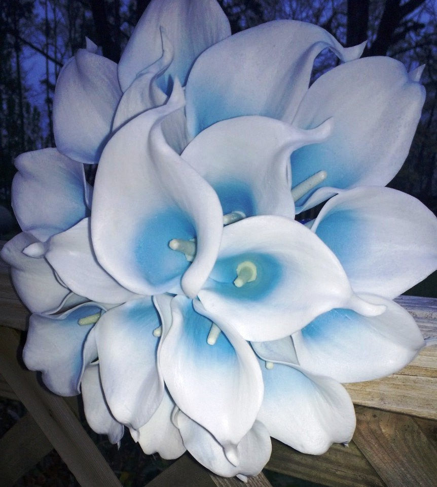 Real touch white malibu blue calla lily bridal bouquet wedding real touch white malibu blue calla lily bridal bouquet wedding flower calla lily bouquet izmirmasajfo
