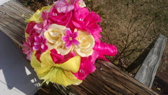 17 Piece Yellow Hot Pink Bouquet Wedding Bouquet Set, Sunbeam Yellow Bouquet, Yellow Bridal Bouquet, Yellow Pink Bridesmaid, Pink Roses