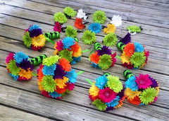 30 Piece Daisy Bridal Bouquet Wedding Bouquet Set Lime Green Daisy, Malibu Blue Bouquet, Blue Green Bouquet, Orange green Blue Bouquet