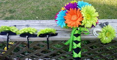 30 Piece Daisy Bridal Bouquet Wedding Bouquet Set Lime Green Daisy - Silk Flowers By Jean