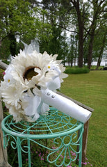 White Sunflower Bouquet with Silk White Roses & Daisies - Silk Flowers By Jean