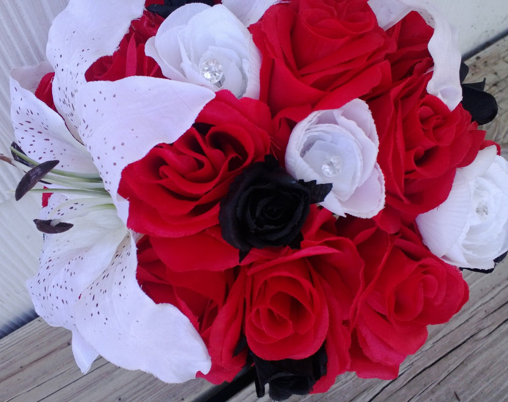 Red Wedding Bouquet White Red Black 17 Piece Silk Flower Set, Red ...