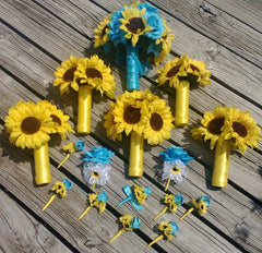 17 piece Sunflower Bouquet Malibu Blue Yellow Sunflower Bridal Bouquet Sunflower Wedding Bouquet Set, Turquoise Bouquet, Rustic Wedding - Silk Flowers By Jean