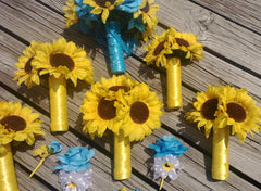 17 piece Sunflower Bouquet Malibu Blue Yellow Sunflower Bridal Bouquet Sunflower Wedding Bouquet Set, Turquoise Bouquet, Rustic Wedding