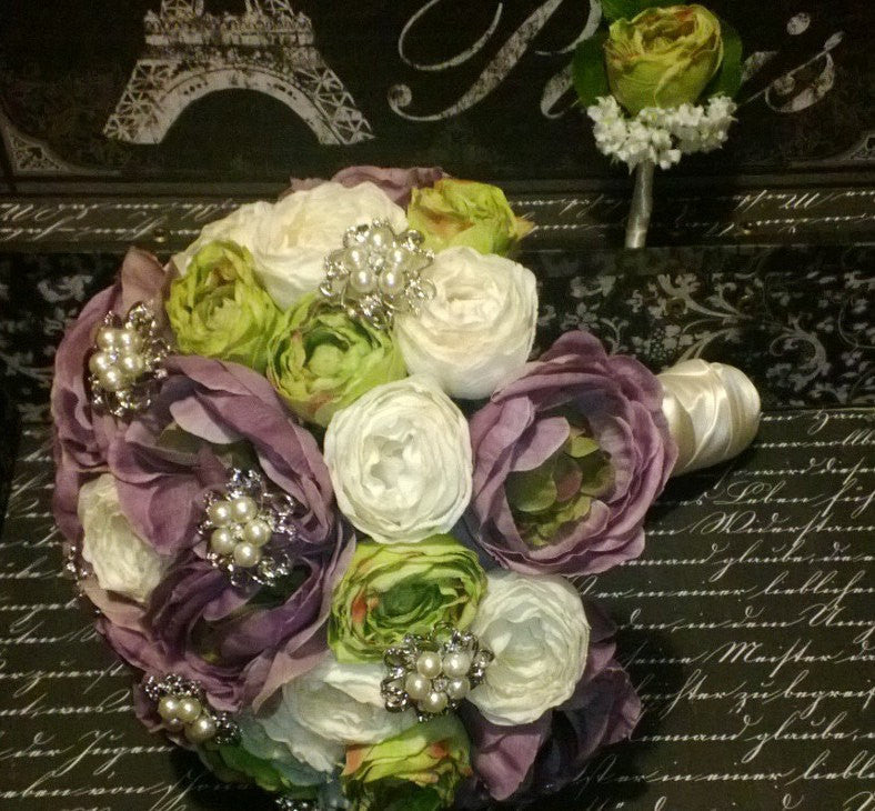 Mint Ivory Lavender Ranunculus Bouquet Brooch Wedding Bouquet Set - Silk Flowers By Jean