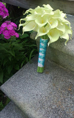 Sale Ready to Ship Real Touch Lime Green Calla Lily Wedding Bouquet with Matching Boutonniere