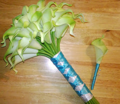 2 Piece Real Touch Lime Green Calla Lily Bridal Bouquet Wedding Flower Set, Lime Green Bouquet, Calla Lily Bouquet Malibu Blue