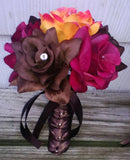 17 Piece Wedding Package, Fall Bouquet, Brown Bouquet, Burgundy Bouquet, Orange Brown Bouquet, Fall Wedding, Fall Bridal Bouquet