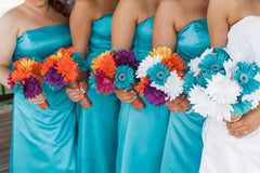 15 Piece Colorful Silk Daisy Wedding Bouquet Set with Matching Boutonnieres & Corsages - Silk Flowers By Jean