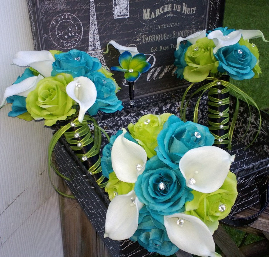 17 piece malibu blue lime green white wedding bouquet flower set 17 piece malibu blue lime green white wedding bouquet flower set with matching boutonnieres corsages mightylinksfo Images