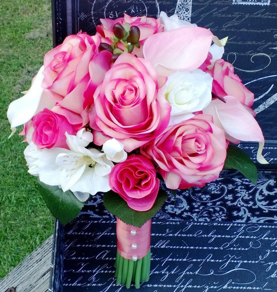 Coral And Pink Wedding Flowers: Real Touch Coral Pink Ivory Wedding Bouquet