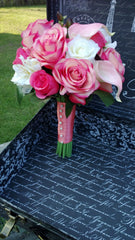 Real Touch Coral Pink Ivory Wedding Bouquet - Silk Flowers By Jean