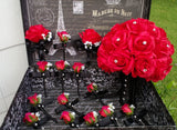17 Piece Silk Red Rose Wedding Bouquet Set with Matching Boutonnieres & Corsages