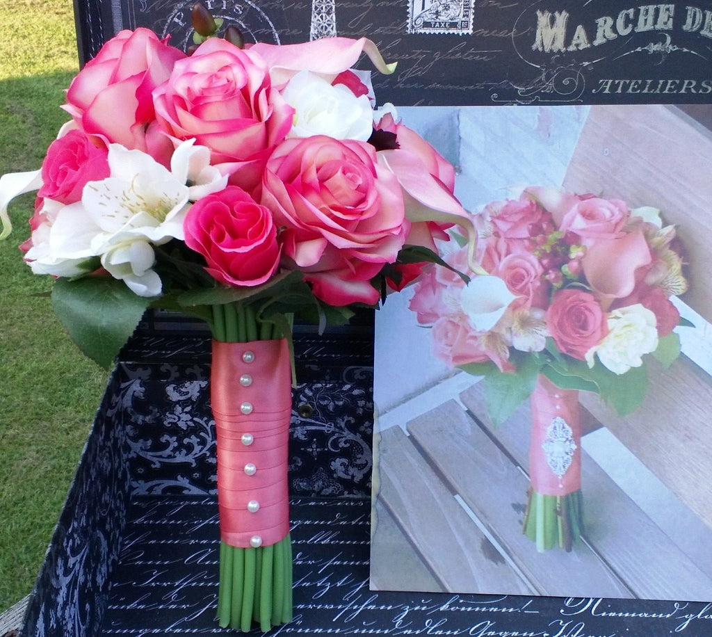 Real Touch Coral Pink Ivory Wedding Bouquet Silk Flowers By Jean