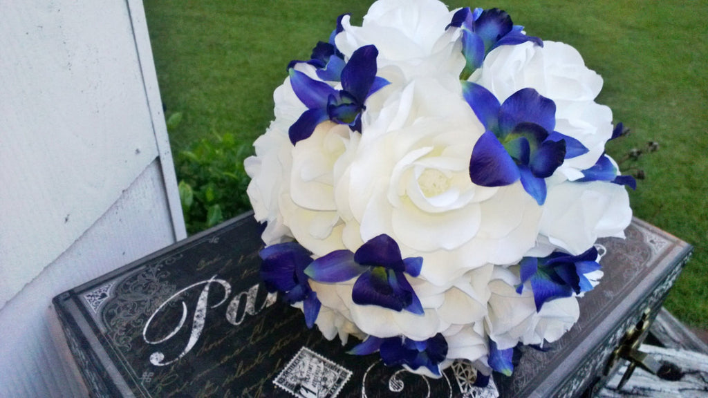 Blue Orchid White Rose Bridal Bouquet Wedding Bouquet, Blue Orchid Bouquet, White Blue Bouquet, White Royal Blue Bouquet Sonia Blue Orchid