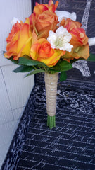 6 piece Fall Wedding Set, Orange Bouquet, Orange Rose Bouquet, Burlap Bouquet, Orange Ivory Bouquet, Real Touch Bouquet, Fall Wedding