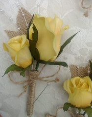 Yellow Rose Boutonniere with Burlap