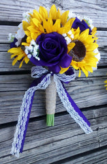 Silk Sunflower with Purple White roses Bouquet - Silk Flowers By Jean