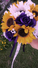 Silk Sunflower with Purple White roses Bouquet