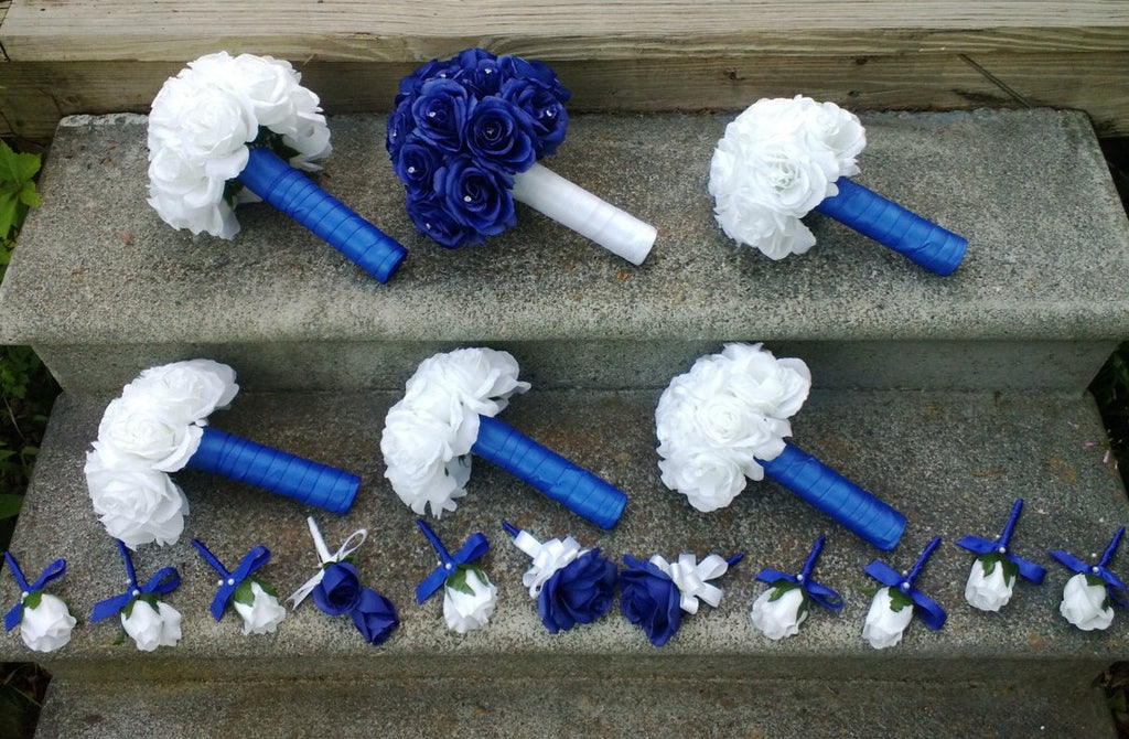 17 Piece Royal Blue & White Rose Bouquet Wedding Package Set with ...