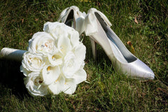 Real Touch Ivory Rose Calla Lily Wedding Bouquet with Diamond Pins - Silk Flowers By Jean