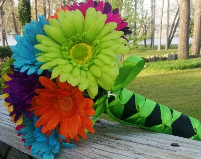 Colorful Daisy Bouquet, Daisy Wedding Bouquet, Bridal Bouquet, Malibu Blue Daisy, Purple Daisy, Orange Daisy, Lime Green Daisy, Yellow Daisy