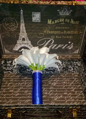 Real Touch White Malibu Blue Calla Lily Bridal Bouquet Wedding Flower, Calla Lily Bouquet, Malibu Blue Bouquet, Malibu White