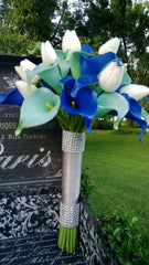 Real Touch Royal Blue Aqua Blue Calla Lily Ivory Tulip Bridal Bouquet Wedding Flower, Royal Blue Aqua Bouquet Calla Lily Tulip Bouquet - Silk Flowers By Jean
