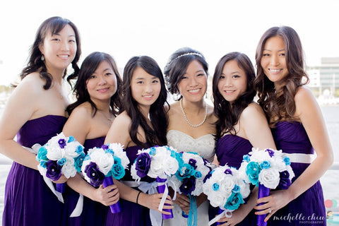 17 Piece Malibu Blue Purple White Bridal Bouquet Rose Wedding Flower Set, Malibu Blue Bouquet, Purple Bouquet, Wedding Bouquet Purple Bridal