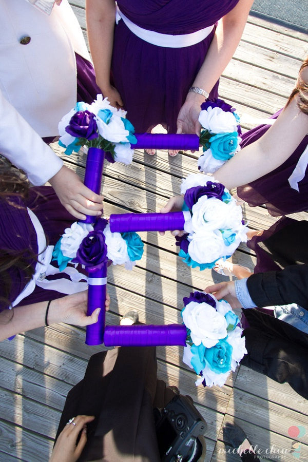 17 Piece Malibu Blue Purple White Bridal Bouquet Rose Wedding Flower ...