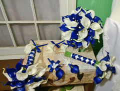 17 piece Real Touch Royal Blue White Calla Lily Wedding Flower Set with Matching Boutonnieres & Corsages - Silk Flowers By Jean