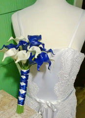 Real Touch Royal Blue White Calla Lily Wedding Bouquet - Silk Flowers By Jean