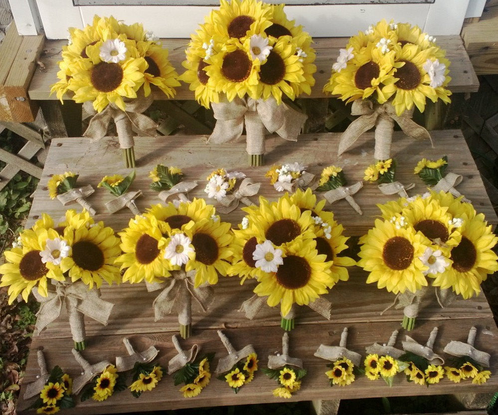 17 piece sunflower wedding bouquet package wrapped in natural burlap silk flowers by jean. Black Bedroom Furniture Sets. Home Design Ideas