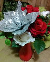 3 Silver Poinsettia Christmas Ornament Set - Silk Flowers By Jean
