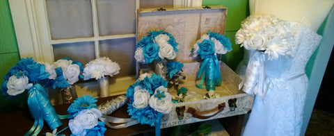 17 Piece Malibu Blue White Daisy Bridal Bouquet Wedding Bouquet Set, Turquoise Daisy Bouquet, Turquoise Bouquet, Malibu Blue Bouquet