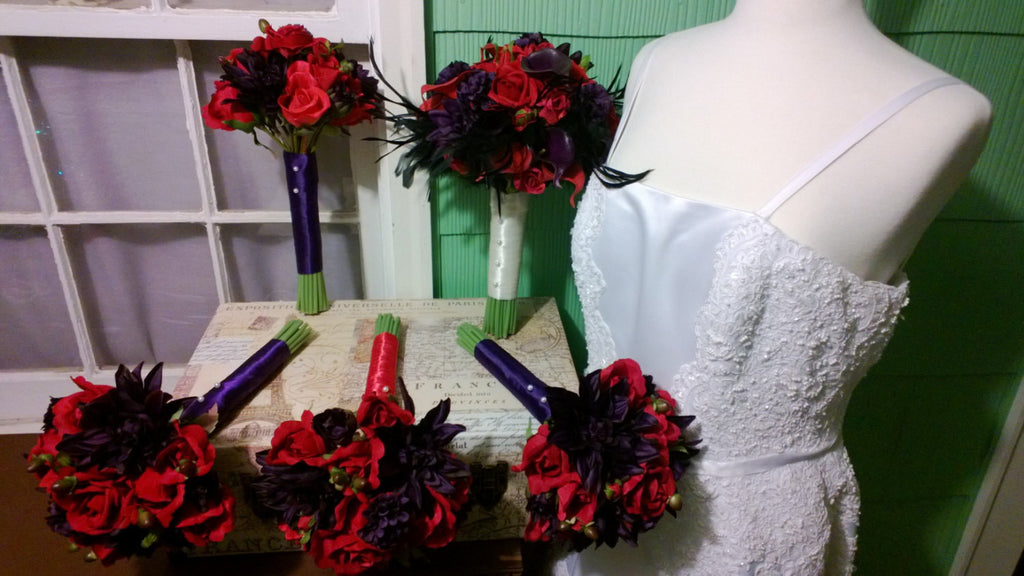 14 Piece Red Eggplant Wedding Bouquet Set, Real Touch Red Rose Red Calla Lily Eggplant Calla lily Black Feather Bridal Bouquet Red Bouquet