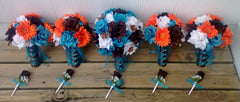 17 Piece Turquoise Malibu Blue Orange Brown White Wedding Flower Set
