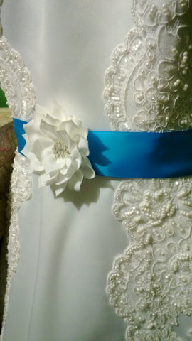 Copy of Wedding Belt, Wedding Sash, Bridal Belt, Bridal Sash, Wedding Dress Belt, Dress Sash, Bridesmaid Belt, Malibu Blue Belt, Custom Colo