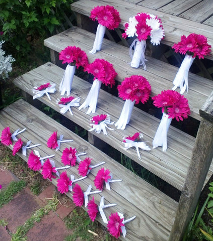 15 Piece Fuchsia Daisy Bouquet Bridal Bouquet Wedding Bouquet Set